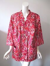 NWT Maggie Barnes for CATHERINES Ikat Print Open Lightweight Jacket 3X 26/28 $74