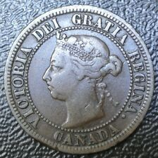 OLD CANADIAN COIN 1891 - ONE CENT - Small Date Large Leave LARGE CENT - Victoria