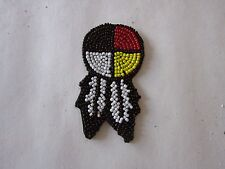 "1.5"" GLASS BEADED 4 DIRECTION MEDICINE WHEEL W/FEATHERS ROSETTES CRAFTS"