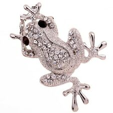 Charm Hot Jewelry Silver Plated Frog Crystal Rhinestone Brooch Pins