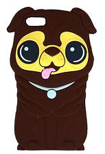 Brown Silicone Pug Shar Pei Dog Puppy Phone Case / Cover for Apple Iphone 4 / 4S