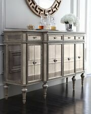Dresden 4 Door Mirrored Buffet Antique-Cream Finish, Silvery Accents 4 Drawers