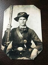 civil war Confederate Military Soldier With Rifle & Pistol tintype C701RP