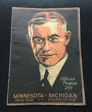 1926 MICHIGAN MINNESOTA COLLEGE FOOTBALL GAME PROGRAM WOLVERINES GOPHERS MICH UM