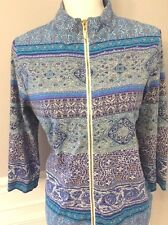 WEEKENDS BY CHICOS FULL ZIP LIGHTWEIGHT JACKET SIZE 1 M MEDALLION BLUES