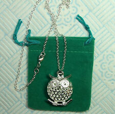 Real Silver Perched Owl + Necklace (both stamped 925 silver) UK Shop! Fast+Free!