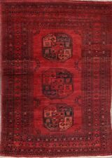 Semi-Antique Geometric Red/Black 4x6 Balouch Afghan Oriental Area Rug Wool