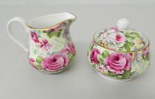 Allyn Nelson Collection Fine Bone China England Sugar & Creamer Set Rose Chintz