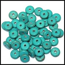 WHOLESALE PARCEL OF 8x3mm NATURAL TURQUOISE GEMSTONE {DRILLED} 50 PIECES