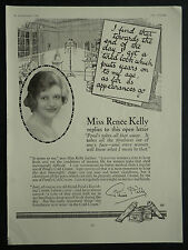 Actress Renee Kelly Pond's Beauty Cream 1928 Page Ad Advertisement 6301