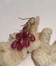 14k solid yellow gold Waterfall Pink Sapphire briolette earrings