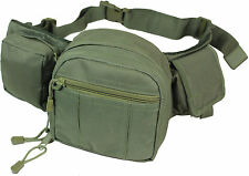 3 Pouch TACTICAL WAIST UTILITY PACK Olive Green - Army Airsoft Canvas Day Bag