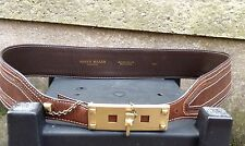 "Karen Millen Brown Leather Belt With Gold Buckle & Chain Sz 3 (44"")BNWOT"