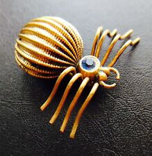 STUNNING VINTAGE SPIDER BROOCH ROLLED GOLD GREAT DETAIL 37 MM LONG