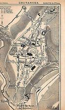50 COUTANCES PLAN DE LA VILLE MAP ILLUSTRATION 1901