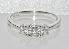 Solid Sterling Silver (925) 0.75ct Three Stone Classic Engagement Ring size O