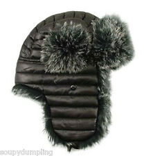 BLACK WARMEST WINTER SKI TRAPPER FAUX FUR HUNTER HAT -WEAR w/ BUBBLE JACKET 1H6