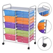 15 Drawer Rolling Storage Cart Tools Scrapbook Paper Office School Organize