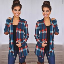 Teal Plaid Elbow Patch Cardigan