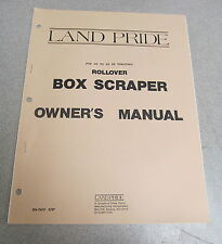 Land Pride Rollover Box Scraper Owner's Owners Manual 1987