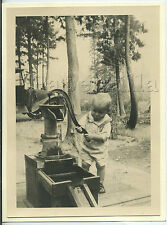 WA Seattle Area 5.5 X 7.5 inch PHOTO 20's TODDLER BOY PUMPS WATER at CAMPGROUND