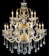 Clear 15 Arms Modern Luxury Crystal Chandelier Pendant Light Lamp Wall Fixture
