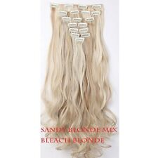 100% real Natural Full Head Clip in on Hair Extensions Extention As Human Blonde