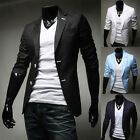 POP Stylish Mens Casual Slim Fit Two Button Suit Blazer Coat Jacket Tops outwear