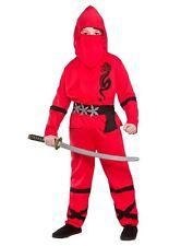 Boys POWER NINJA SAMURAI Fighter Warrior Martial Fancy Dress Costume Ages 3-13