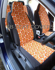 CITROEN BERLINGO MULTISPACE CAR SEAT COVERS ORANGE HIPPY FLOWER FULL SET