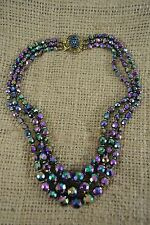 VINTAGE 1950s black carnival glass bead triple strand necklace AB peacock