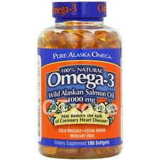 180 Pure Alaska Omega 3 1000 mg 100% Natural Wild ALASKAN SALMON OIL 180 Softgel