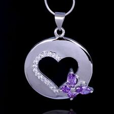 Hot Sale Heart butterfly purple Genuine CZ 925 Sterling Silver Pendant+ Necklace