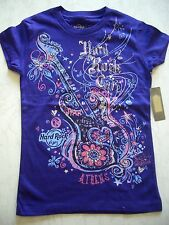 HRC Hard Rock Cafe Athen Athens Athena Purple Guitar Shirt Youth S 128-134 Girls