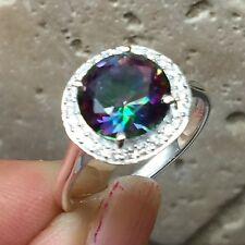 Designer 2ct Rainbow Mystic Topaz Accent Stone 925 Solid Sterling Silver Ring 6