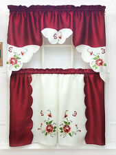 BUTTERFLY PURSUING ROSE. 3pcs EMBROIDERY kitchen curtain set. BURGUNDY color