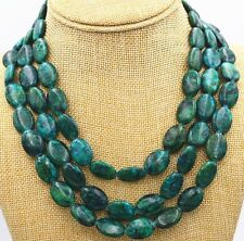 Fashion Women's 13x18mm Azurite Chrysocolla Oval Gemstone 3 Rows Necklace AAA