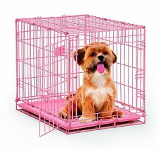 Pink Crate Dog Cage Pet Safe Travel Small Animal Kennel Puppy Cat Carrying 24""