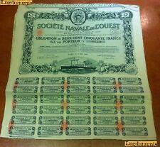 Société Navale de L'Ouest 15 Mai 1923 Obligation de 250 Francs Paris (Verte)