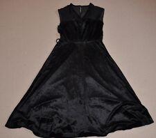 Vintage Black Velvet Dress, Sleeveless, A Line, V Neck, Size 14
