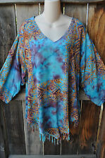 """ART TO WEAR MISSION CANYON FRINGED RUBY TOP IN ALL NEW CALYPSO ,OS+,56""""B"""