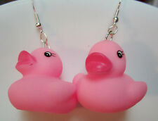 NORA WINN UNIQUE COSTUME EARRINGS PINK DUCK RUBBER DUCKIES VALINTINES DAY GIFT