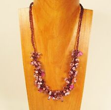 """20"""" Purple Pink Stone Shell Chip Handmade Seed Bead Necklace FREE SHIPPING!"""