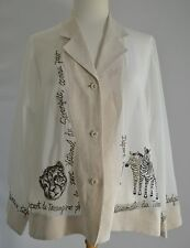 TOKUKO 1er Vol Button Up Blouse Shirt Top Sheer Ivory Animal Design Embroidery 9