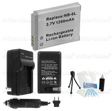 NB-6L NB-6LH Battery + Charger + BONUS for Canon PowerShot SX280 SD980 SX250