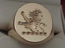 """""""RAMPANT LION"""" SEAL ENGRAVED in reverse, for extra large gents, 9ct ,18mm x 14mm"""
