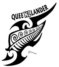 AOTEAROA NEW ZEALAND KIWI FERN QUEENZLANDER WITH TRIBAL QUEENSLAND STICKER WHITE