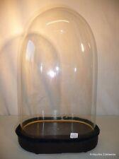 Globe en verre de mariée ou pendule avec son socle en bois noirci H41
