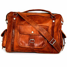 New Brown Real Leather Office Weekend Satchel Gym Bowling Tote Hand Bag Vintage