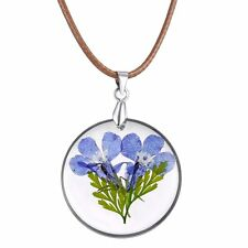 Dried Flower Purple Violet Round Glass Current Bottle Locket Pendant Necklace